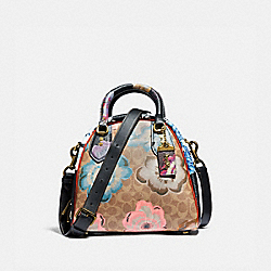 MARLEIGH SATCHEL IN SIGNATURE CANVAS WITH KAFFE FASSETT PRINT - B4/TAN PINK MULTI - COACH 78458
