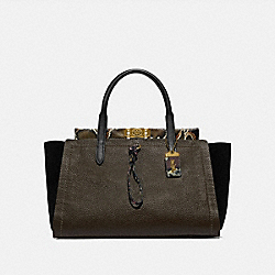 TROUPE CARRYALL 35 IN COLORBLOCK WITH SNAKESKIN DETAIL - ARMY GREEN MULTI/BRASS - COACH 78485