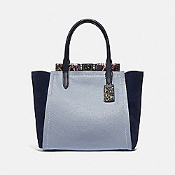 TROUPE TOTE IN COLORBLOCK WITH SNAKESKIN DETAIL - MIST MULTI/PEWTER - COACH 78486