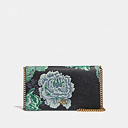 CALLIE FOLDOVER CHAIN CLUTCH WITH KAFFE FASSETT PRINT - B4/GREEN MULTI - COACH 78559