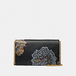CALLIE FOLDOVER CHAIN CLUTCH WITH KAFFE FASSETT PRINT - B4/BLACK MULTI - COACH 78559