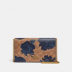 CALLIE FOLDOVER CHAIN CLUTCH IN SIGNATURE CANVAS WITH KAFFE FASSETT PRINT - B4/TAN BLUE MULTI - COACH 78560