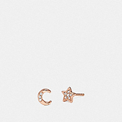 SIGNATURE MOONSTAR STUD EARRINGS - ROSE GOLD/GREY - COACH 78583