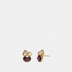 SIGNATURE CRYSTAL CLUSTER STUD EARRINGS - GOLD/RED - COACH 78599