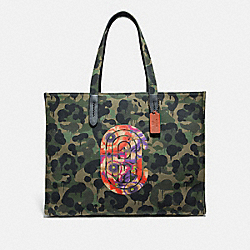 TOTE 42 WITH WILD BEAST PRINT AND KAFFE FASSETT COACH PATCH - JI/MILITARY WILD BEAST - COACH 78623