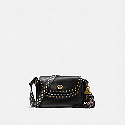 COACH X TABITHA SIMMONS CROSSBODY 17 WITH RIVETS - BLACK/BRASS - COACH 78710