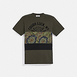 TOUGH LUCK PATCHWORK T-SHIRT WITH KAFFE FASSETT PRINT - OLIVE - COACH 78880