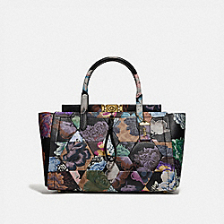 TROUPE CARRYALL 35 IN SIGNATURE CANVAS WITH KAFFE FASSETT PRINT - B4/TAN MULTI - COACH 78892
