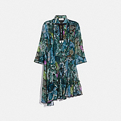 ASYMMETRICAL DRESS WITH KAFFE FASSETT PRINT - BLUE GREEN - COACH 78910