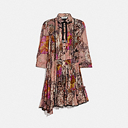 ASYMMETRICAL DRESS WITH KAFFE FASSETT PRINT - PEACH/PINK - COACH 78910