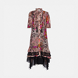 LONG TENT DRESS WITH KAFFE FASSETT PRINT - PEACH/PINK - COACH 78960