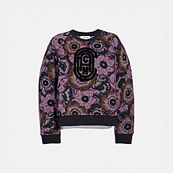 COACH SWEATSHIRT WITH KAFFE FASSETT PRINT - TEAL/PURPLE - COACH 79016