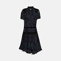 DRESS WITH KAFFE FASSETT PRINT - BLACK/GREEN - COACH 79071