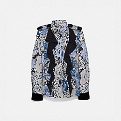PLEATED BLOUSE WITH KAFFE FASSETT PRINT - BLACK/BLUE - COACH 79073