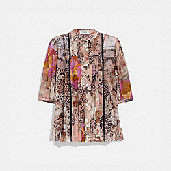 BUTTON DOWN BLOUSE WITH KAFFE FASSETT PRINT - PEACH/PINK - COACH 79074