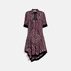 SHIRT DRESS WITH KAFFE FASSETT PRINT - WINE/PINK - COACH 79105