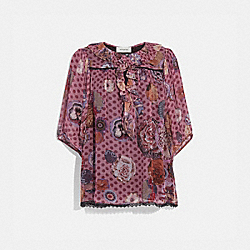 SHORT SLEEVE BLOUSE WITH KAFFE FASSETT PRINT - PINK/ORANGE - COACH 79111