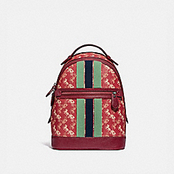 BARROW BACKPACK WITH HORSE AND CARRIAGE PRINT AND VARSITY STRIPE - PEWTER/RED DEEP RED - COACH 79235