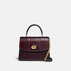 PARKER TOP HANDLE IN BLOCKED SNAKESKIN - BRASS/DEEP RED - COACH 79282
