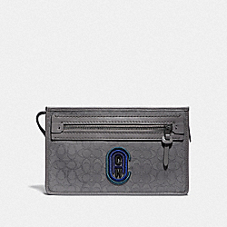 RIVINGTON CONVERTIBLE POUCH IN SIGNATURE JACQUARD WITH COACH PATCH - HEATHER GREY/BLUE OMBRE - COACH 79390