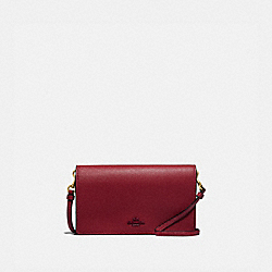 HAYDEN FOLDOVER CROSSBODY CLUTCH - BRASS/DEEP RED - COACH 79453