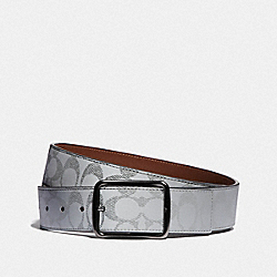 HARNESS BUCKLE CUT-TO-SIZE REVERSIBLE BELT, 38MM - SILVER/SADDLE - COACH 79470