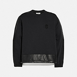 LEATHER TRIM SWEATSHIRT - BLACK - COACH 79523