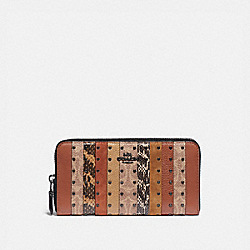 ACCORDION ZIP WALLET WITH SIGNATURE CANVAS PATCHWORK STRIPES AND SNAKESKIN DETAIL - V5/TAN BLACK MULTI - COACH 79628