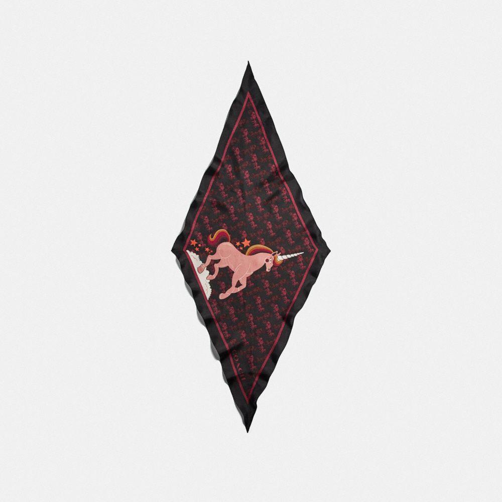 호스 앤 캐리지 유니콘 프린트 실크 다이아몬드 스카프