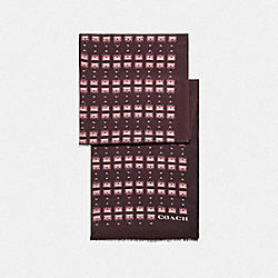ARCHIVAL PRINT SILK OBLONG SCARF - OXBLOOD - COACH 79643