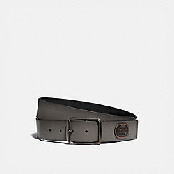 HARNESS BUCKLE CUT-TO-SIZE REVERSIBLE BELT WITH COACH PATCH, 38MM - GREY/BLACK - COACH 79803