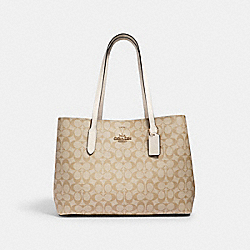 LARGE AVENUE CARRYALL IN SIGNATURE CANVAS - IM/LIGHT KHAKI CHALK - COACH 79987