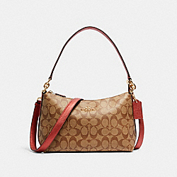 LEWIS SHOULDER BAG IN SIGNATURE CANVAS - IM/KHAKI METALLIC CLAY - COACH 80059