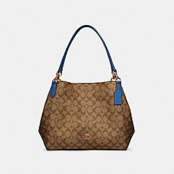 HALLIE SHOULDER BAG IN SIGNATURE CANVAS - IM/KHAKI DEEP ATLANTIC - COACH 80298