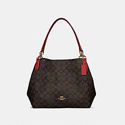 HALLIE SHOULDER BAG IN SIGNATURE CANVAS - IM/BROWN 1941 RED - COACH 80298