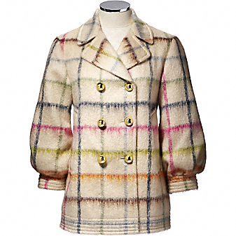 Coach Official Site - WOMENS TATTERSALL PEACOAT from coach.com