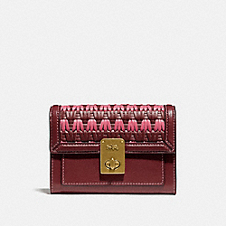 HUTTON WALLET WITH WEAVING - B4/CONFETTI PINK MULTI - COACH 804