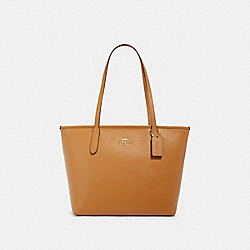 ZIP TOP TOTE - IM/LIGHT SADDLE - COACH 83857