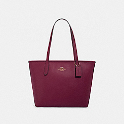ZIP TOP TOTE - IM/DARK BERRY - COACH 83857