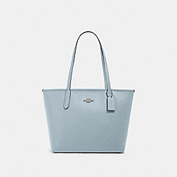 ZIP TOP TOTE - SV/PALE BLUE - COACH 83857