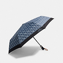 UMBRELLA WITH HORSE AND CARRIAGE PRINT - DENIM - COACH 84672