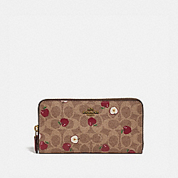 ACCORDION ZIP WALLET IN SIGNATURE CANVAS WITH SCATTERED APPLE PRINT - B4/TAN MULTI - COACH 86093