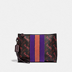 CHARLIE POUCH WITH HORSE AND CARRIAGE PRINT AND VARSITY STRIPE - PEWTER/BLACK OXBLOOD - COACH 86113