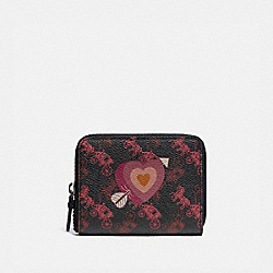 SMALL ZIP AROUND WALLET WITH HORSE AND CARRIAGE PRINT AND HEART - V5/BLACK OXBLOOD - COACH 86395