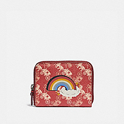 SMALL ZIP AROUND WALLET WITH HORSE AND CARRIAGE PRINT AND RAINBOW - V5/RED DEEP RED - COACH 86396