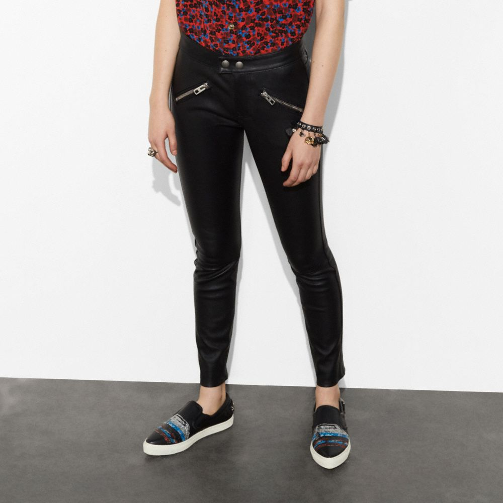 Zip Pocket Leather Pant - Alternate View A1