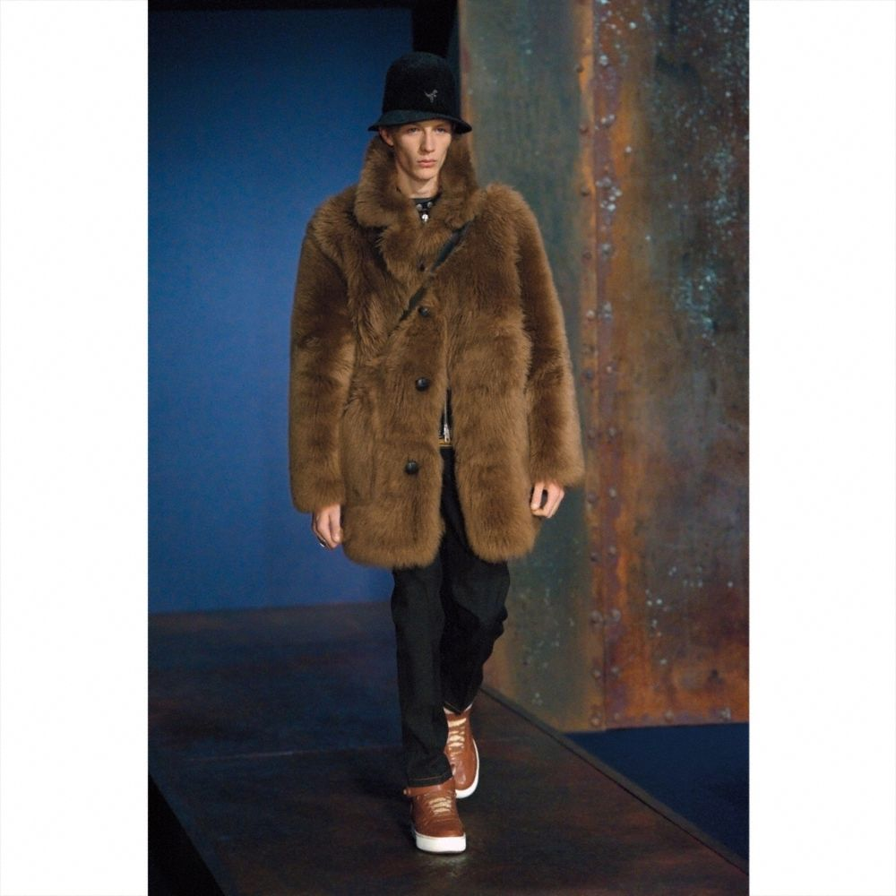 Toy Soldier Shearling Pieced Coat - Alternate View M1