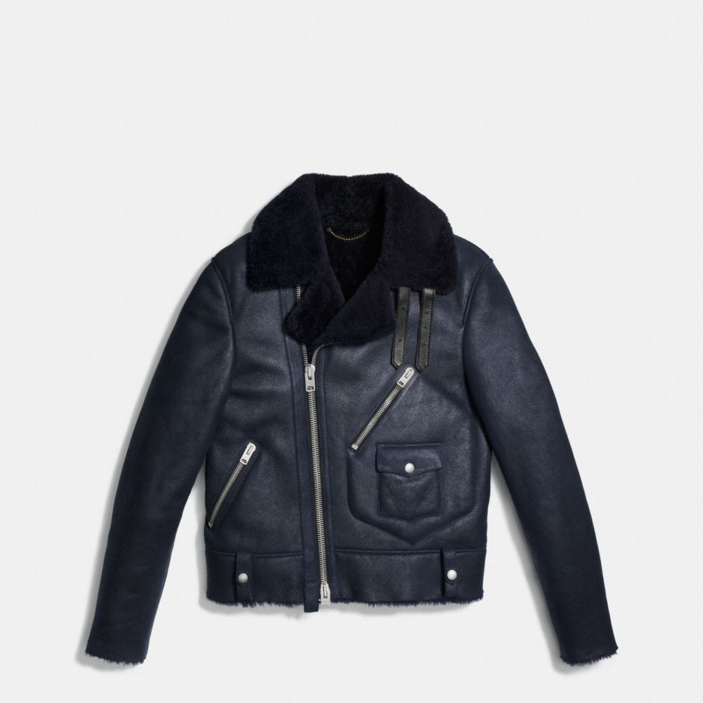 SHEARLING MOTORCYCLE JACKET - Alternate View