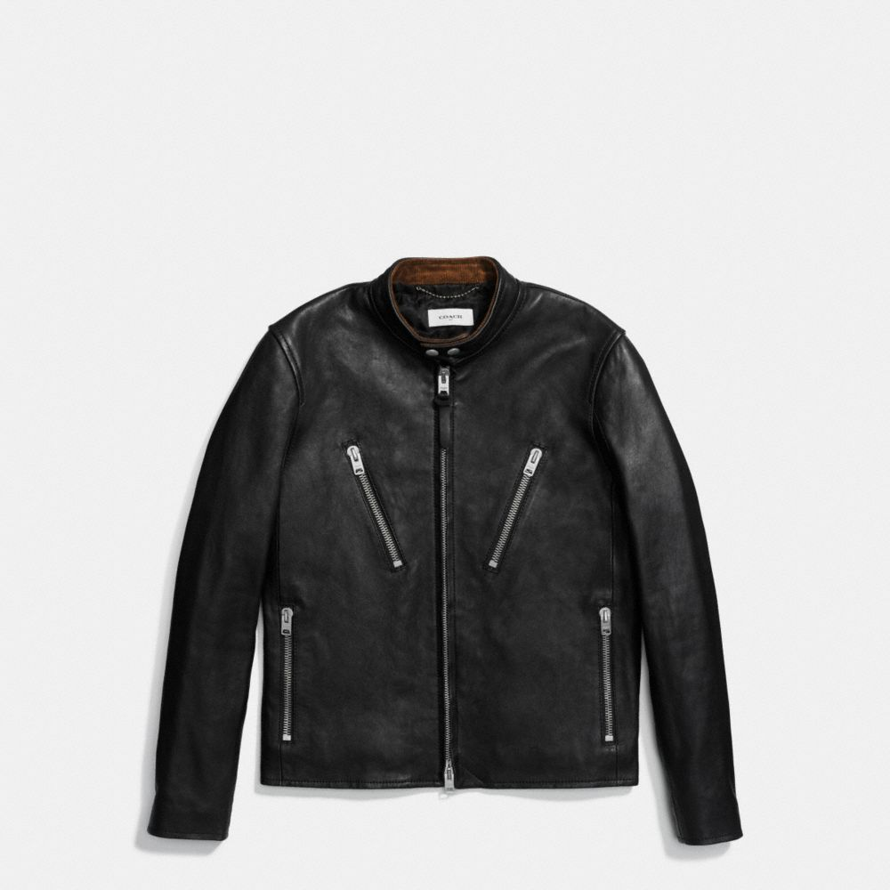 WASHED LEATHER RACER JACKET - Alternate View