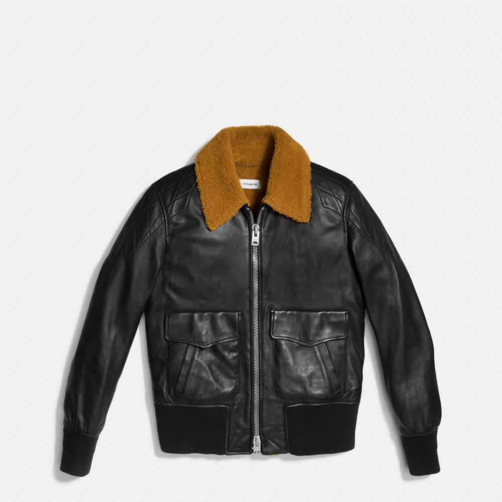 WASHED LEATHER AVIATOR BOMBER JACKET - Alternate View